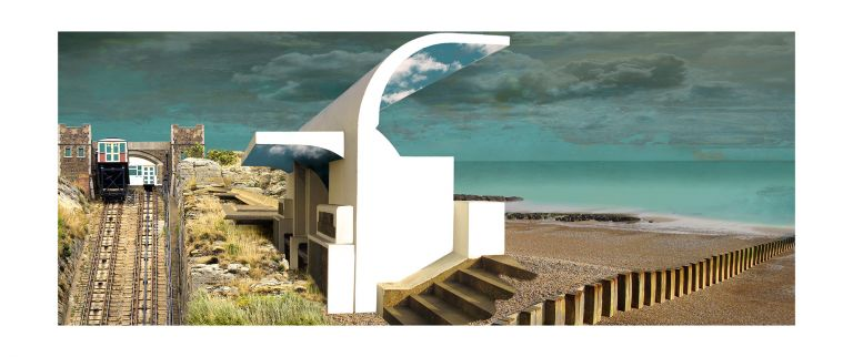 Claire Gill, Artist, Limited Edition prints, photomontage, digital art, seascapes, fine art prints, Hastings, Shelter, vernacular, beach