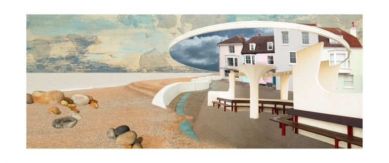 Claire Gill, Artist, Limited Edition prints, photomontage, digital art, seascapes, fine art prints, Deal, Shelter, promenade