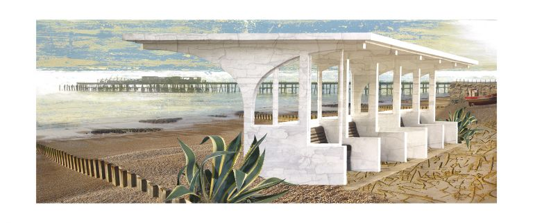 Claire Gill, Artist, Limited Edition prints, photomontage, digital art, seascapes, fine art prints, Hastings, Shelter, beach