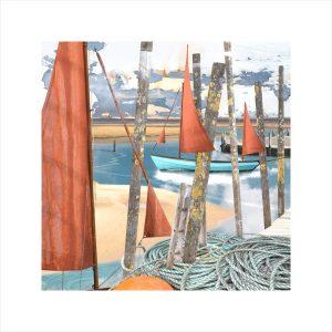 Claire Gill, Artist, Limited Edition prints, photomontage, digital art, seascapes, fine art prints, Blakeney, Norfolk, boats