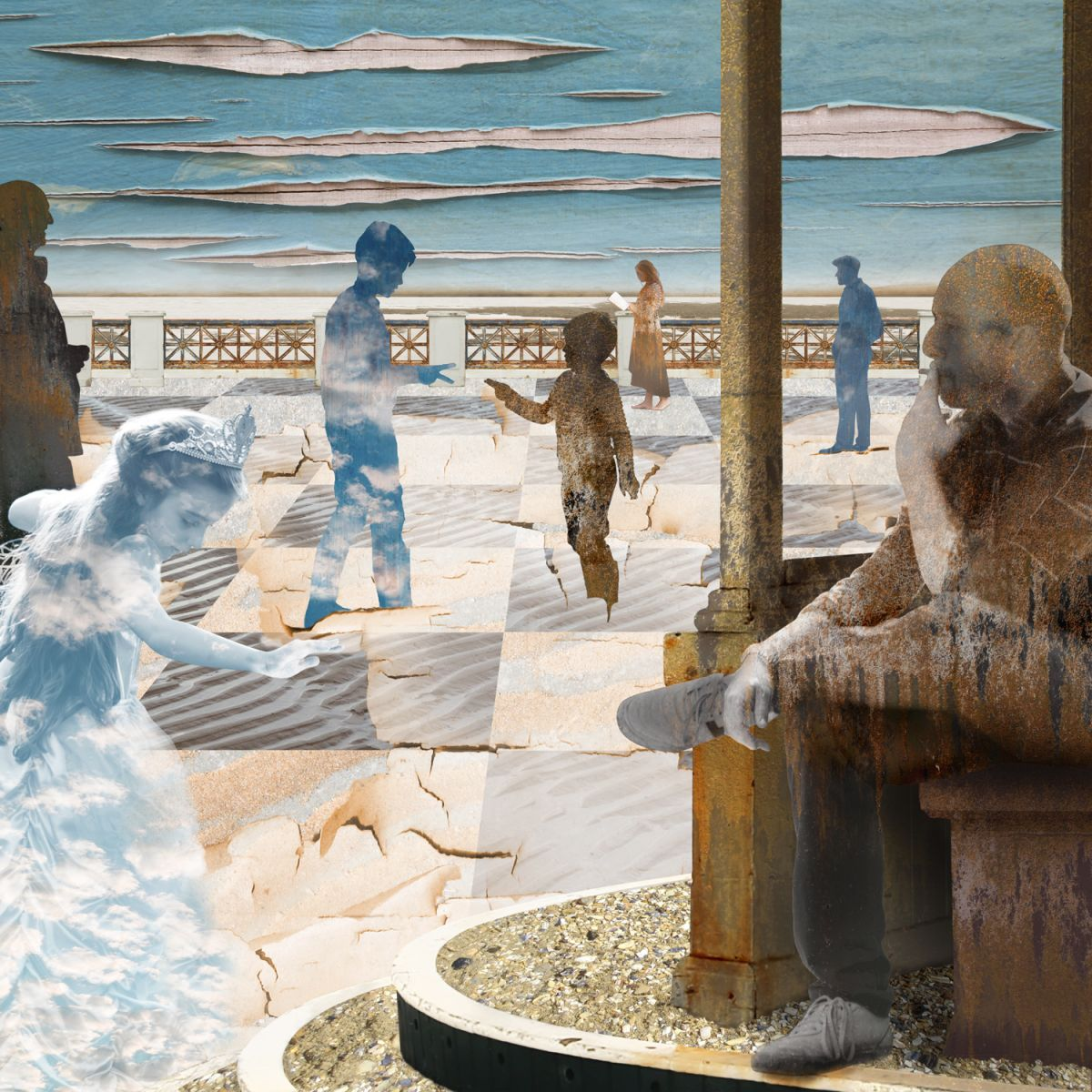 Claire Gill, Artist, Digital Photomontage, The Wasteland by TS Eliot, A game of Chess, On Margate Sands, Lombard Street Gallery, The Wasteland, TS Eliot, Photomontage, Limited Edition Print, Margate, hands, sea