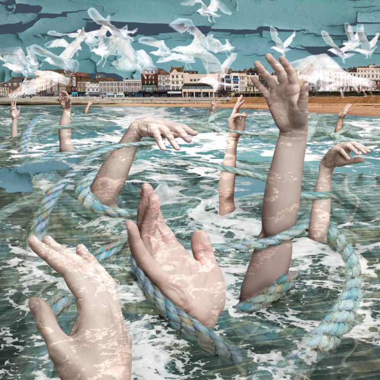 Claire Gill, Artist, Digital Photomontage, The Wasteland by TS Eliot, Death by Drowning, On Margate Sands, Lombard Street Gallery, The Wasteland, TS Eliot, Photomontage, Limited Edition Print, Margate, hands, sea