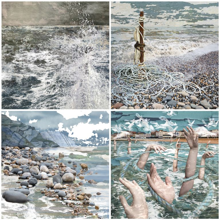 the 365 day challenge, Seascapes, Death by Drowning, Claire Gill, Artist Claire Gill, Claire Gill Fine Art, Art Challenge, Digital Photomontage, Inspiration, seascapes, Creating Art in the Cracks, Day#53