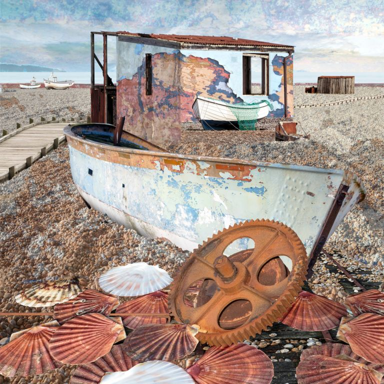 Claire Gill. fine art card, greeting card, seascapes, photomontage, coastal art, limited edition prints, seascape 63, shells, Dungeness