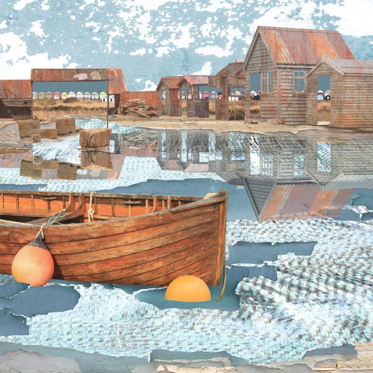 Claire Gill. fine art card, greeting card, seascapes, photomontage, coastal art, limited edition prints, seascape 65, reflections, Southwold harbour, Southwold