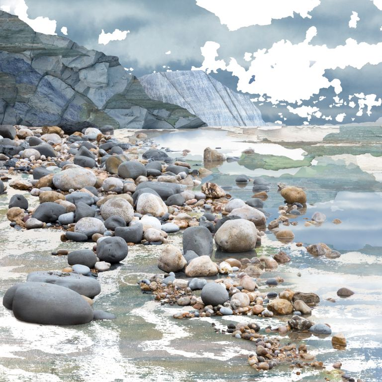 Claire Gill. fine art card, greeting card, seascapes, photomontage, coastal art, limited edition prints, seascape 69, Charmouth, Jurassic Coast