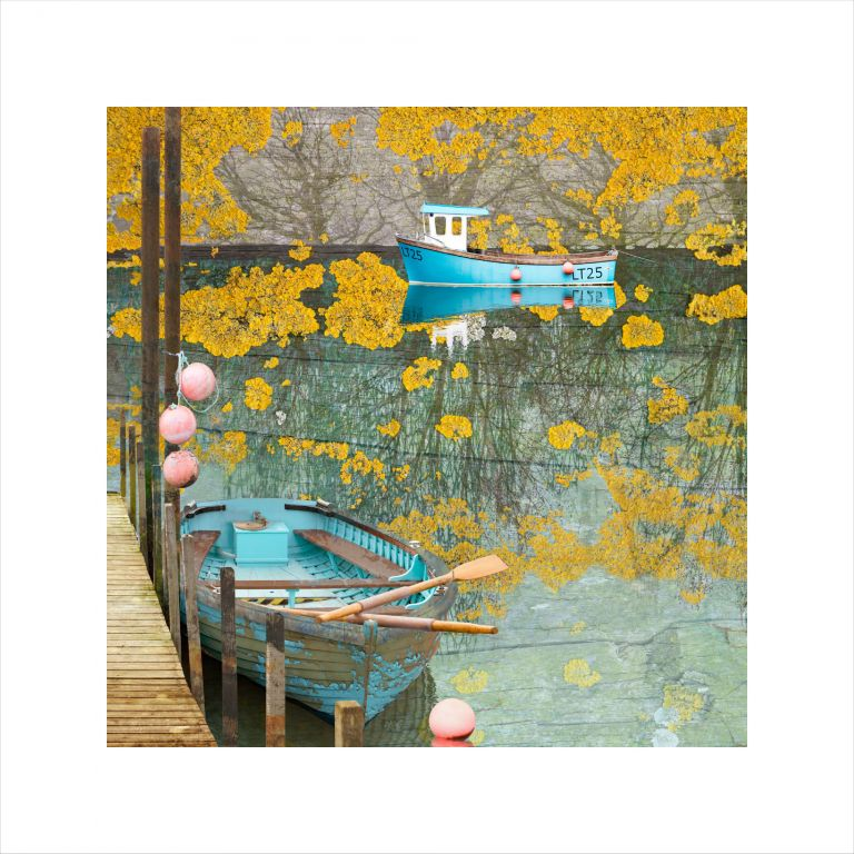 Claire Gill, Fine Art Print, Claire Gill Artist, Seascape, Limited edition print, Boat, Digital Photomontage, Digital Art, Card, Buy Art, Collect Art, Southwold Harbour, Sea, Seascape 75 Limited Edition Print