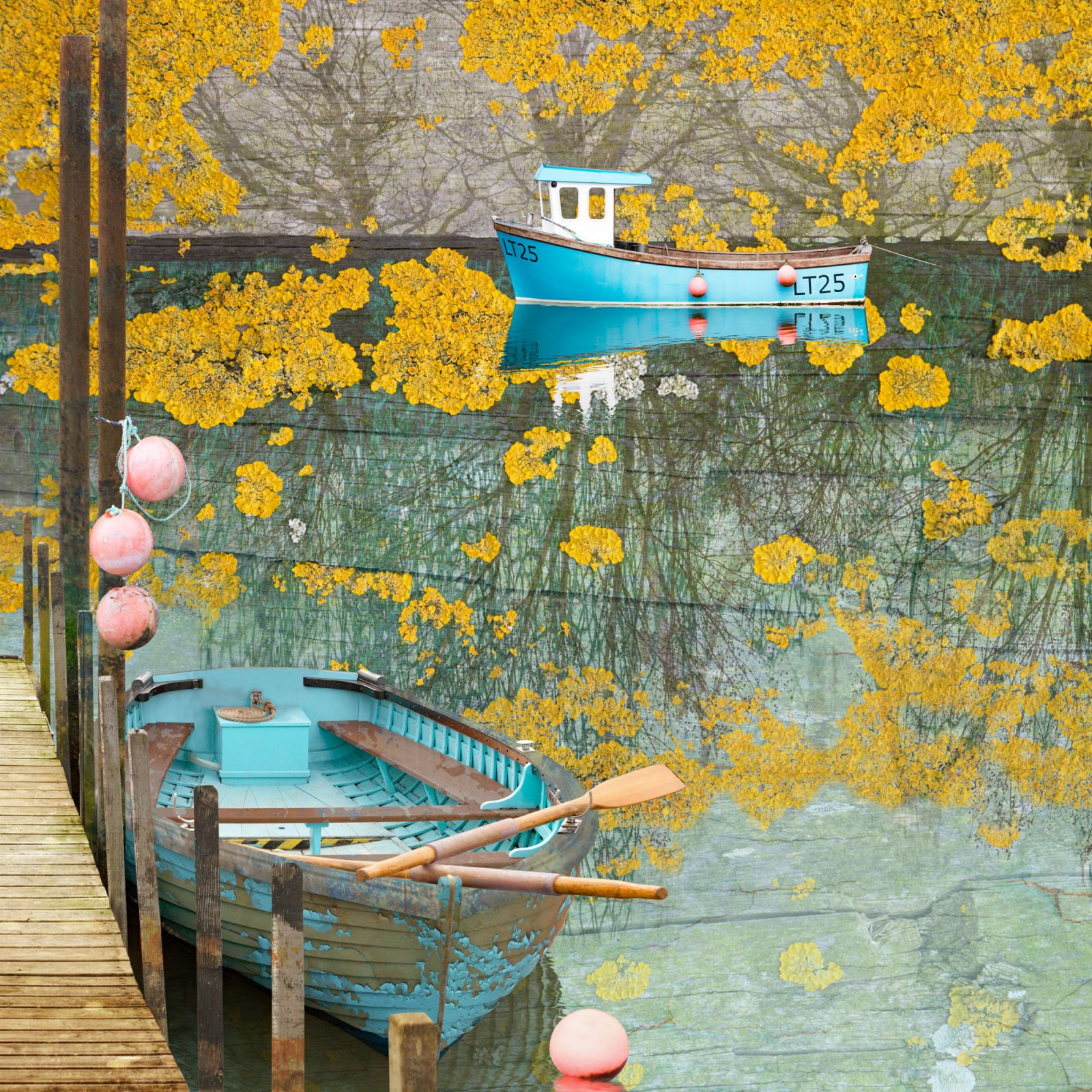 contemporary digital photomontage artist, Greeting card, fine art card, claire gill, clairegill artist, buy cards, art cards, seascape cards, boats, coastal art, beach art, Suffolk coast, Southwold harbour, southwold ferry boat, autumn