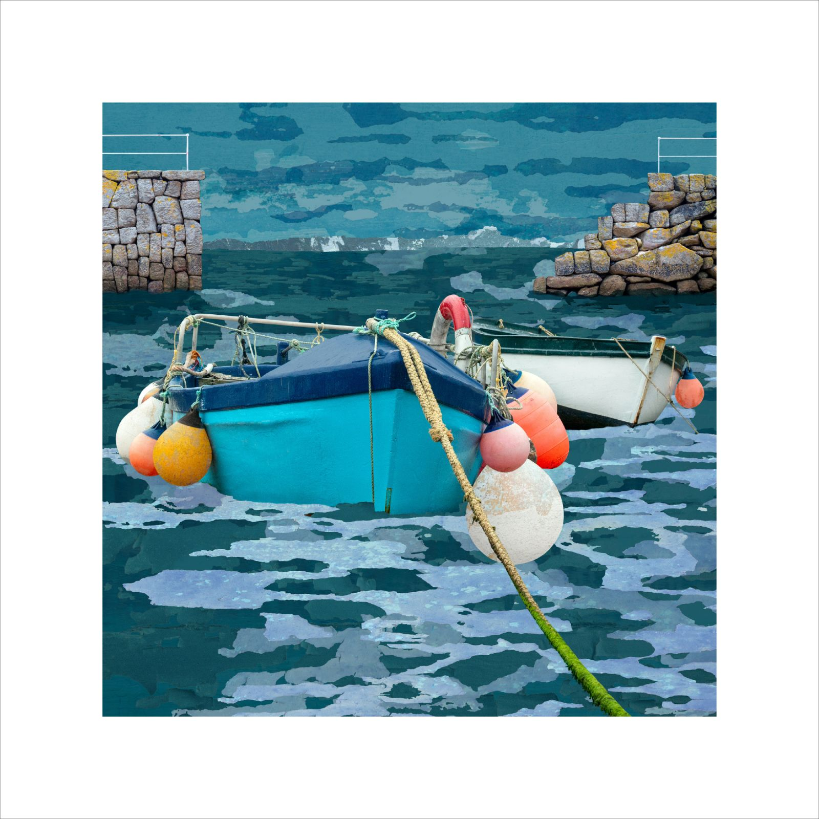 Claire Gill Artist, Seascape print, Limited Edition Print, hahnemuhle, Coastal Art, Mousehole Harbour, Mousehole, Cornwall, Cornish Coast, Buy Art, Art for interiors, boats, photomontage, fine art print
