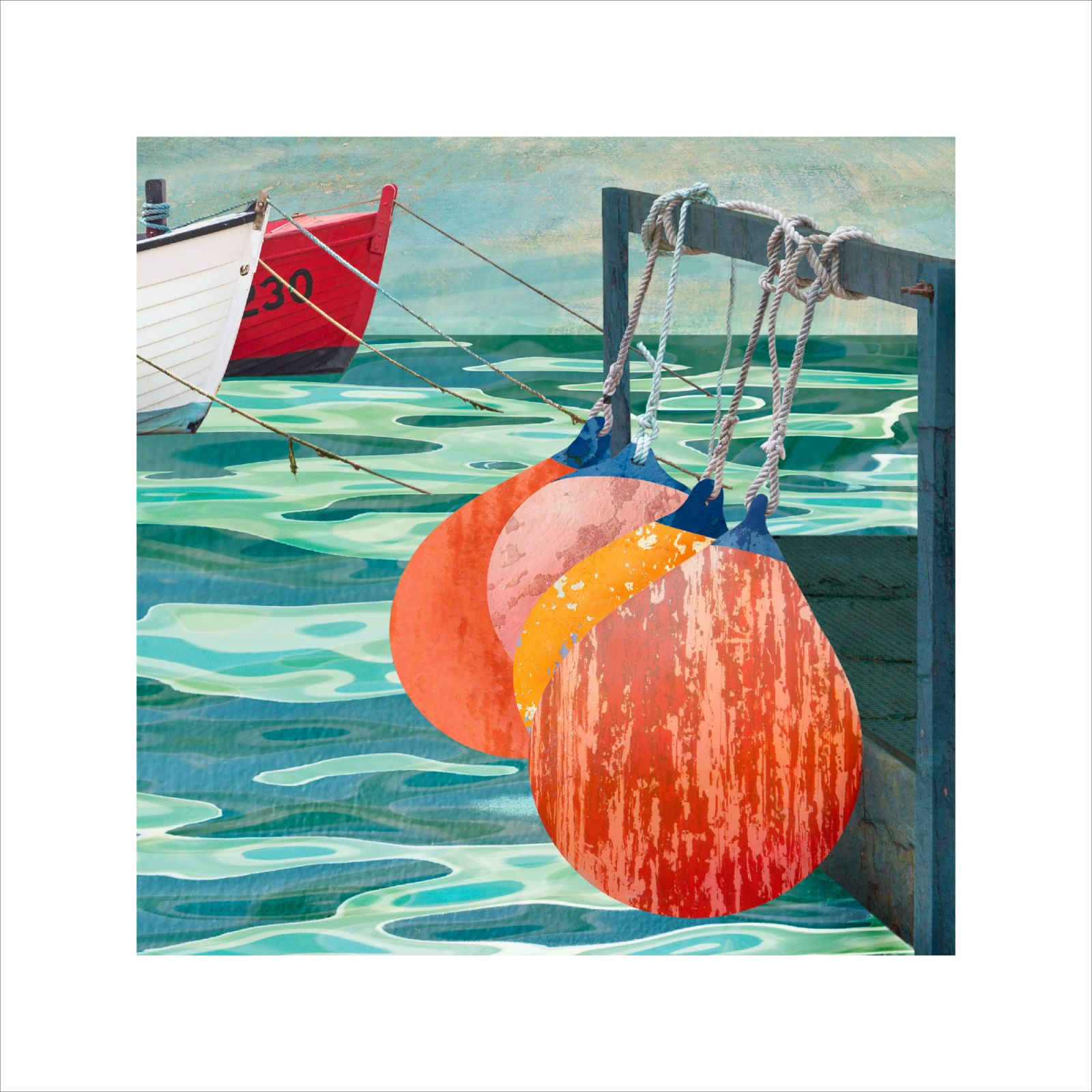Claire Gill Artist, Seascape print, Buy art, collect art, art for interiors, Southwold Harbour, boats, southwold, limited edition print, coastal art, claire gill artist