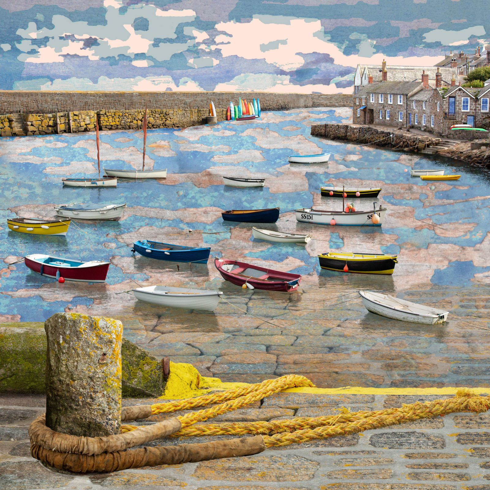 Claire Gill Artist, fine art card, greeting card, limited edition print, hahnemuhle, buy art, collect art, seascapes, photomontage, coastal art, limited edition prints, seascape 76, Mousehole, Mousehole Harbour, boats, Golden Hour, Cornwall