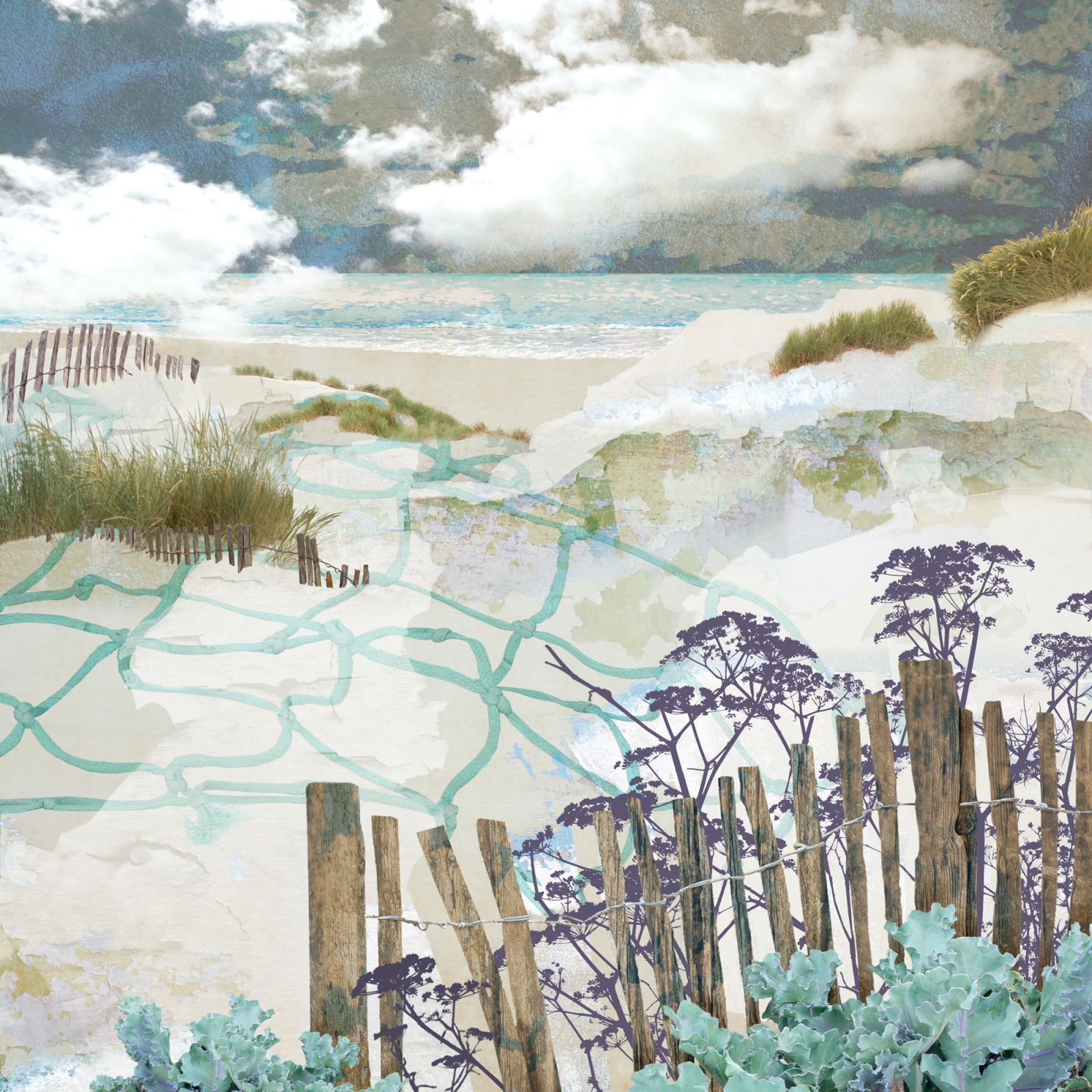 digital collage, Claire Gill Artist, fine art card, greeting card, limited edition print, hahnemuhle, buy art, collect art, seascapes, photomontage, coastal art, limited edition prints, seascape 82, Kent coast, Sand dunes, beach, Powdersand, Camber Sands