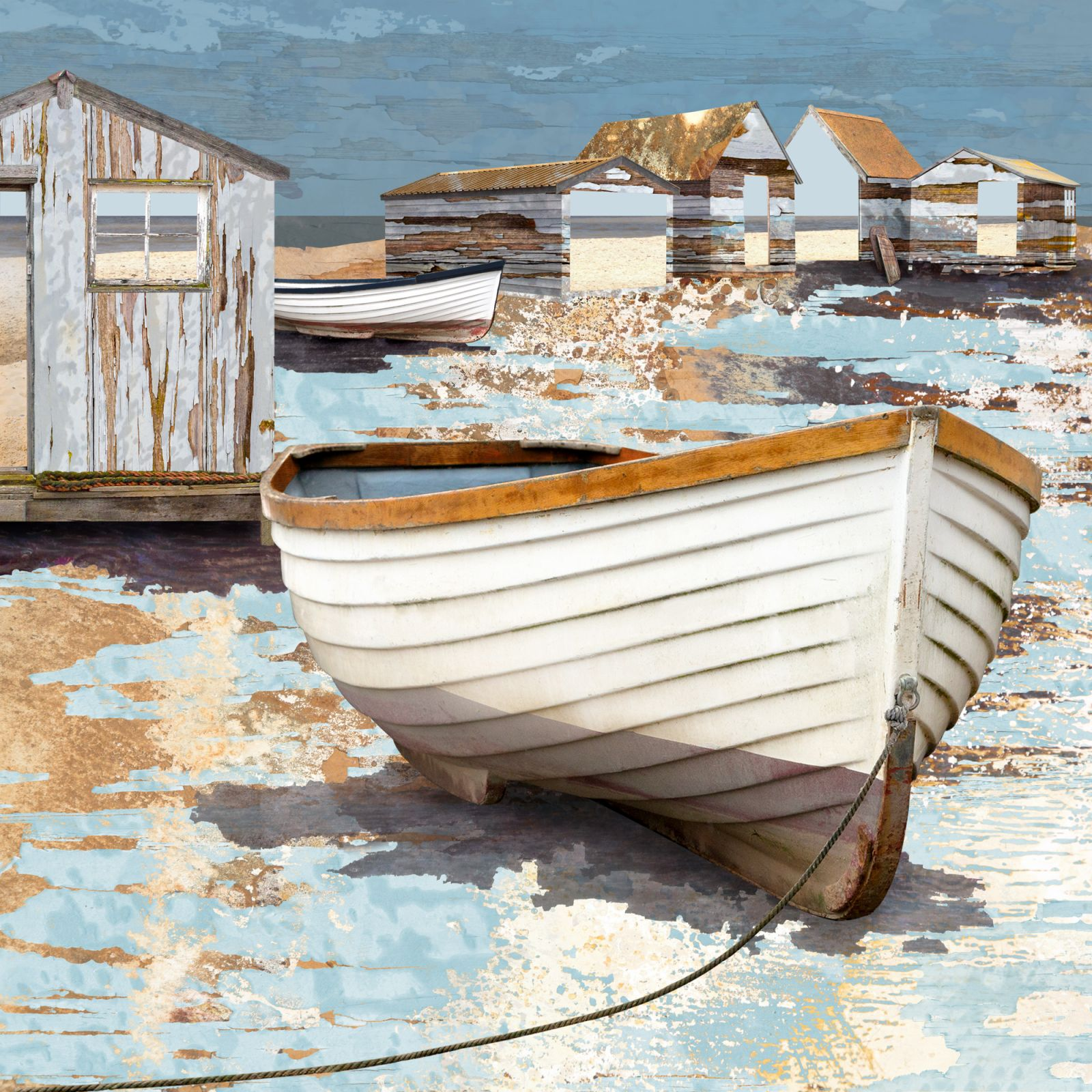 Claire Gill Artist, fine art card, greeting card, limited edition print, hahnemuhle, buy art, collect art, seascapes, photomontage, coastal art, limited edition prints, seascape 84, Beach, Southwold Harbour Harbour, boats, Southwold, Suffolk Coast