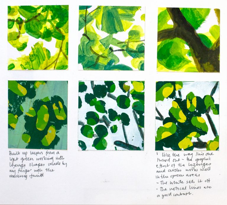 paint studies, sketchbook pages, green, paint layers, trees, sketchbook process,