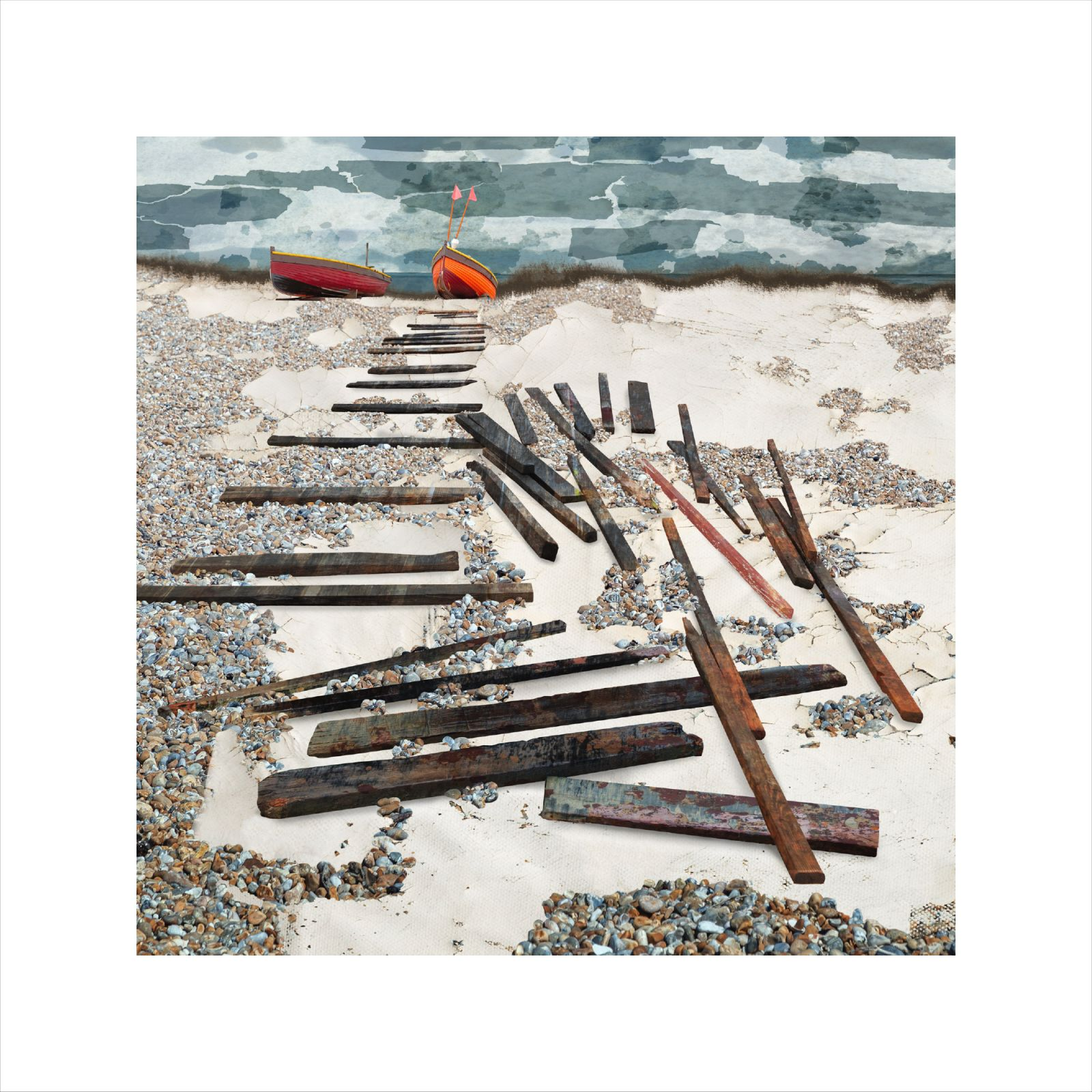 Claire Gill Artist, Digital collage artist, British Artist, digital collage artist, photomontage artist, worthing beach, the broken path, seascape print, limited edition print, fine art prints for sale, sussex coast print, Worthing fine art print, red boats, seascape artist, Seascape art