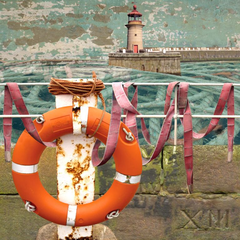 Claire Gill. fine art card, fine art greeting card, greeting card, seascapes, photomontage, coastal art, limited edition prints, seascape 31, Ramsgate Harbour, Ramsgate, Buoy