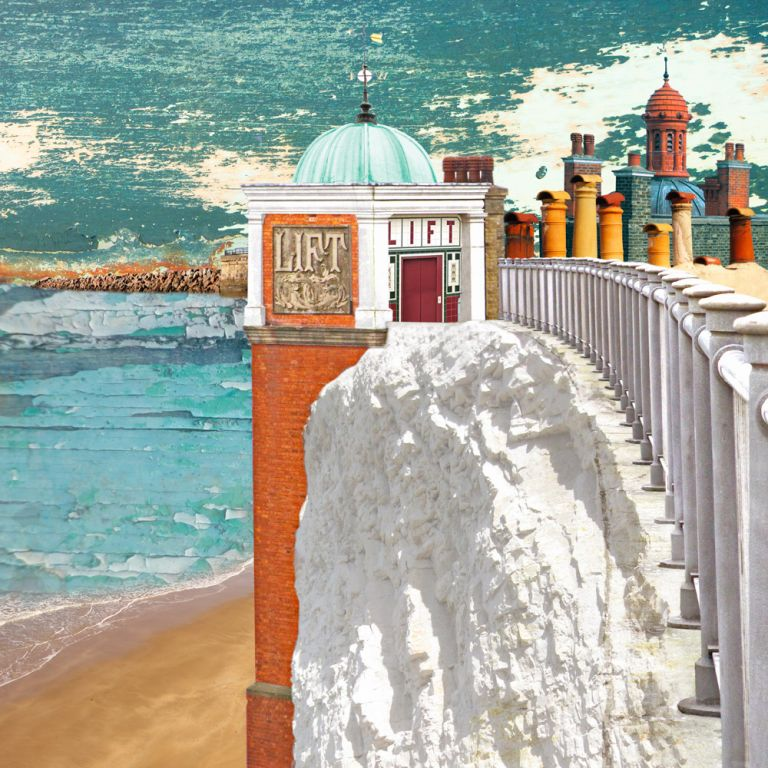 Claire Gill. fine art card, fine art greeting card, greeting card, seascapes, photomontage, coastal art, limited edition prints, seascape 32, lift, Ramsgate Lift, Ramsgate, Cliffs