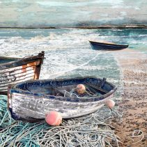Claire Gill. fine art card, fine art greeting card, greeting card, seascapes, photomontage, coastal art, limited edition prints, seascape 35, boats, Aldeburgh, Chesil beach