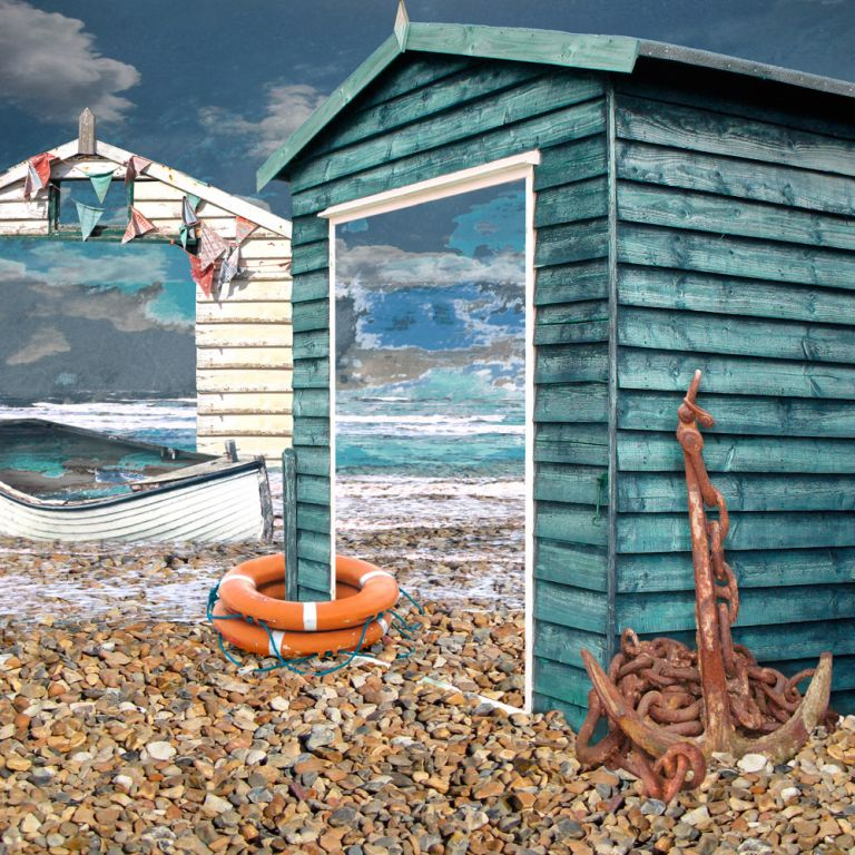 Claire Gill. fine art card, fine art greeting card, greeting card, seascapes, photomontage, coastal art, limited edition prints, seascape 39, Beach Huts, Whitstable, Anchor