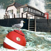 Claire Gill. fine art card, fine art greeting card, greeting card, seascapes, photomontage, coastal art, limited edition prints, seascape 41, Bleak House, Dickens, Broadstairs, Buoy, Seagull