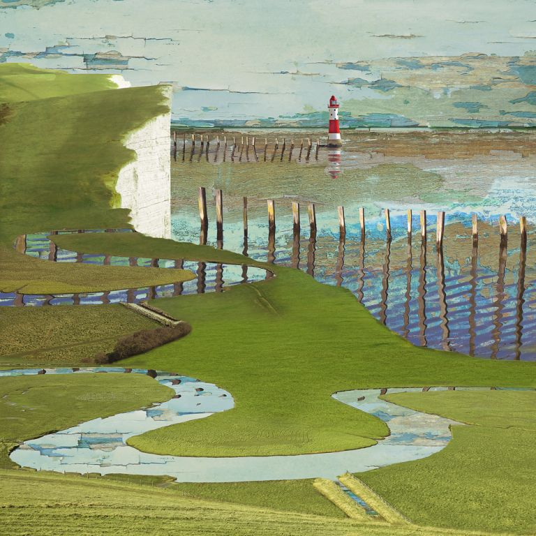 Claire Gill. fine art card, fine art greeting card, greeting card, seascapes, photomontage, coastal art, limited edition prints, seascape 45, Oxbow, Cuckmere, beauty head, Eastbourne, Sussex