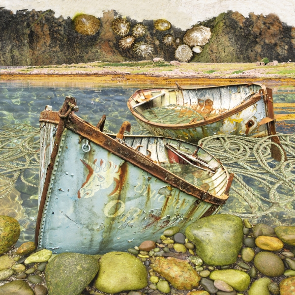 Claire Gill. fine art card, fine art greeting card, greeting card, seascapes, photomontage, coastal art, limited edition prints, seascape 47, The Sound of Mull, Isle of Mull, Fionphort, hebrides, boats, rusty boats