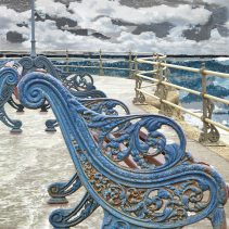 Claire Gill. fine art card, fine art greeting card, greeting card, seascapes, photomontage, coastal art, limited edition prints, seascape 48, Swanagae, Pier, Bench