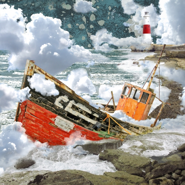 Claire Gill. fine art card, fine art greeting card, greeting card, seascapes, photomontage, coastal art, limited edition prints, seascape 49, Portland, rocks, navigation, clouds, boat