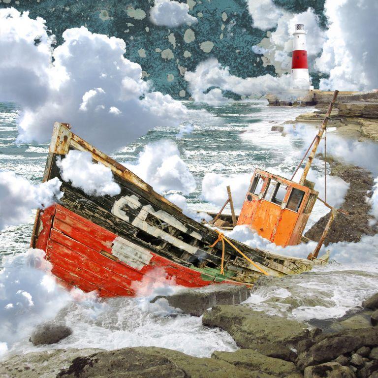 Claire Gill. fine art card, fine art greeting card, greeting card, seascapes, photomontage, coastal art, limited edition prints, seascape 49, Portland, rocks, navigation, clouds, boat