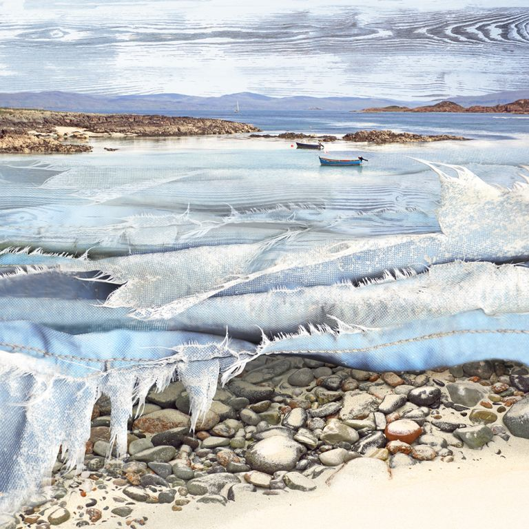 Claire Gill. fine art card, fine art greeting card, greeting card, seascapes, photomontage, coastal art, limited edition prints, seascape 51, Isle of Iona, hebrides, Argyll & Bute