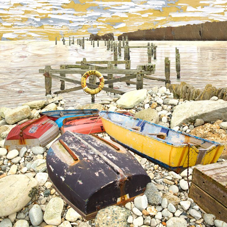 Claire Gill. fine art card, fine art greeting card, greeting card, seascapes, photomontage, coastal art, limited edition prints, seascape 52, Scattered, Swanage, Studland, boats