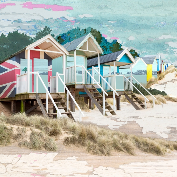 Claire Gill. fine art card, greeting card, seascapes, photomontage, coastal art, limited edition prints, seascape 53, Hotham, North Norfolk, Wells Next the Sea