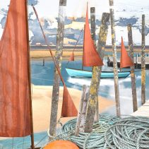 Claire Gill. fine art card, fine art greeting card, greeting card, seascapes, photomontage, coastal art, limited edition prints, seascape 54, Blakeney, Wells Next the Sea, Norfolk