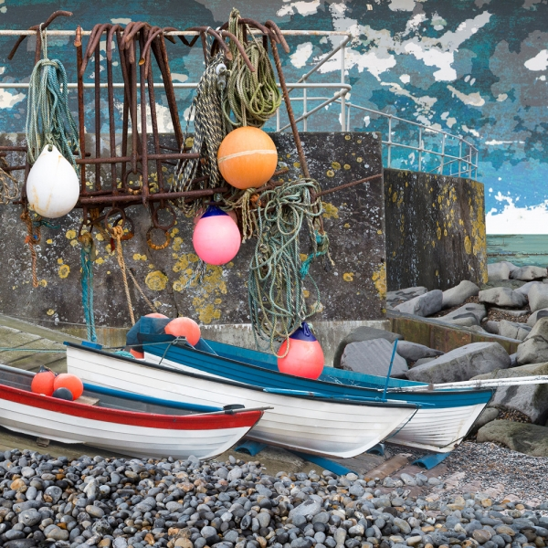 Claire Gill. fine art card, fine art greeting card, greeting card, seascapes, photomontage, coastal art, limited edition prints, seascape 55, Sheringham, Norfolk, boats