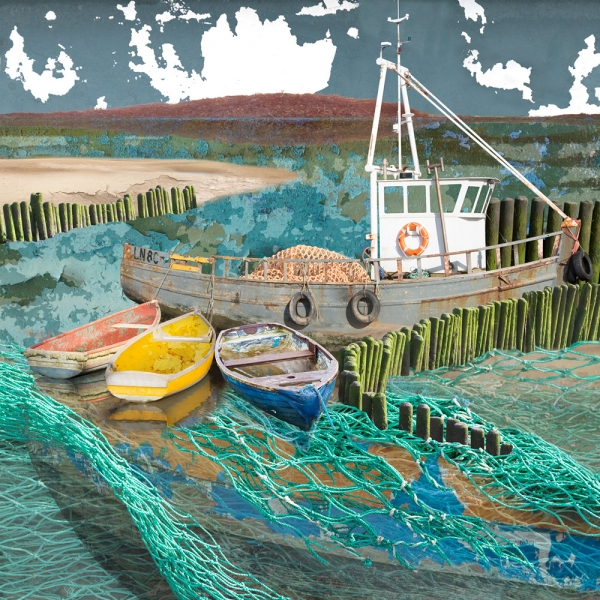 Claire Gill. fine art card, greeting card, seascapes, photomontage, coastal art, limited edition prints, seascape 57, North Norfolk