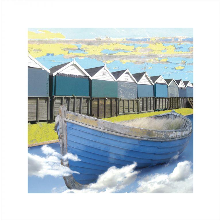 Affordable Art, Art for Sale, Art online, Art prints, Claire Gill, Limited edition prints, digital photomontage, fine art prints, hahnemuhle, coastal art, Collect Art, seascape 3, Bournemouth, boat, clouds