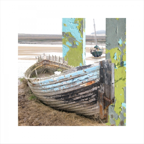 Claire Gill, Limited edition prints, digital photomontage, fine art prints, hahnemuhle, coastal art, Collect Art, seascape 5, Blakeney Boat, North Norfolk