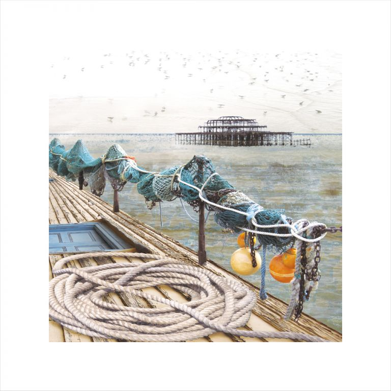 Claire Gill, Limited edition prints, digital photomontage, fine art prints, hahnemuhle, coastal art, Collect Art, seascape 14, Brighton Pier, Gold Hanger