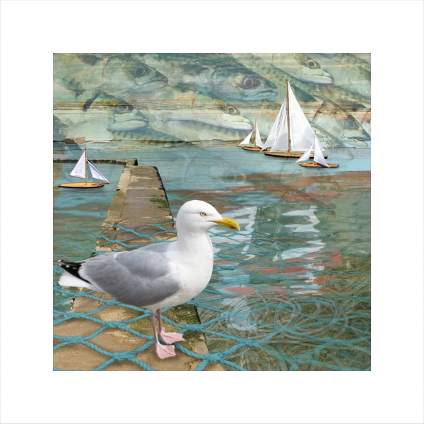 Claire Gill, Limited edition prints, digital photomontage, fine art prints, hahnemuhle, coastal art, Collect Art, seascape 16, Margate, Seagull