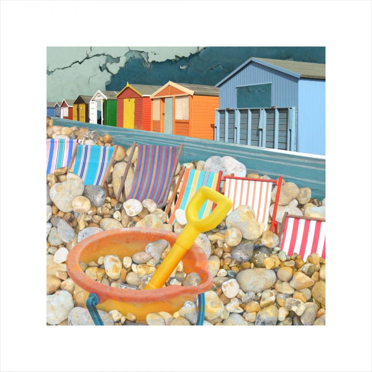 Affordable Art, Art for Sale, Art online, Art prints, Claire Gill, digital photomontage, Limited edition print, Fine art print, collect art, Whitstable, beach huts, bucket and spade, beacht, seascape