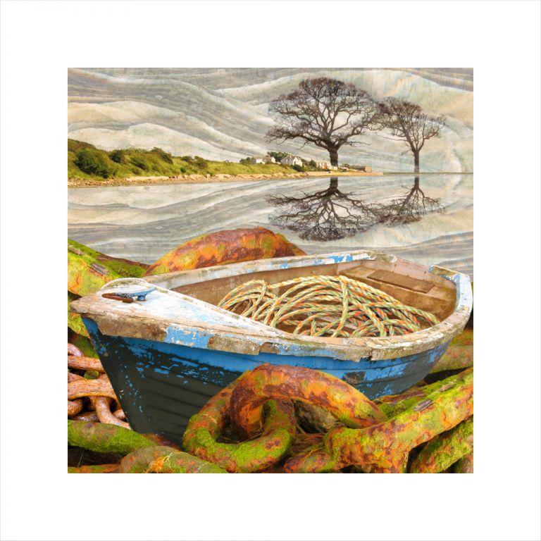 Affordable Art, Art for Sale, Art online, Art prints, Claire Gill, digital photomontage, Limited edition print, Fine art print, collect art, Ravenglass, boat, seascape 21