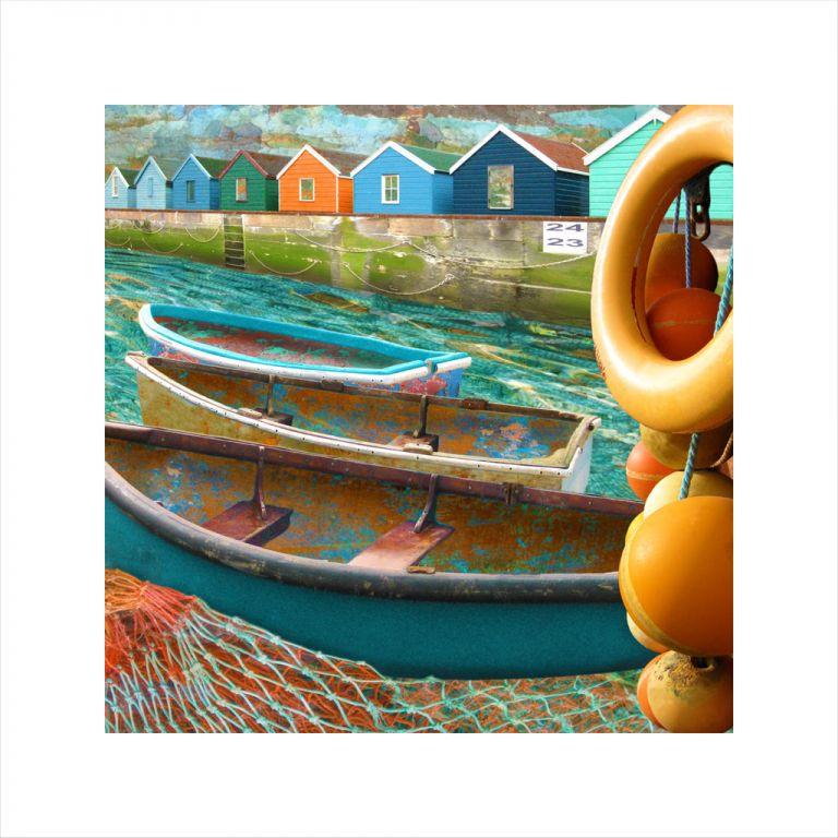 Claire Gill, digital photomontage, Limited edition print, Fine art print, collect art, seascape 23, coastal art, beach huts.life buoys