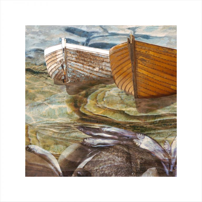 Claire Gill, digital photomontage, Limited edition print, Fine art print, collect art, seascape 24, coastal art, boats