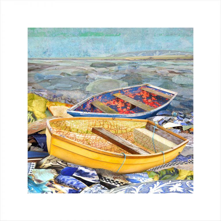 Affordable Art, Art for Sale, Art online, Art prints, Claire Gill, digital photomontage, Limited edition print, Fine art print, collect art, seascape 25, coastal art, glass bottle bay, lower halstow