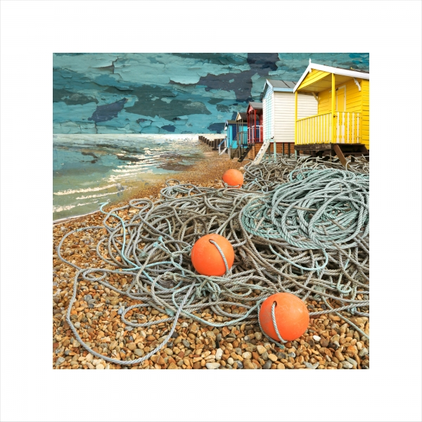 Claire Gill, Limited edition prints, digital photomontage, fine art prints, hahnemuhle, coastal art, Collect Art, seascape 36, Whitstable, Tankerton, Barbour