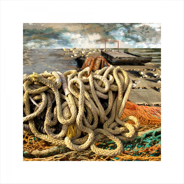 Claire Gill, Limited edition prints, digital photomontage, fine art prints, hahnemuhle, coastal art, Collect Art, seascape 38, Whitstable, Oyster festival, rope