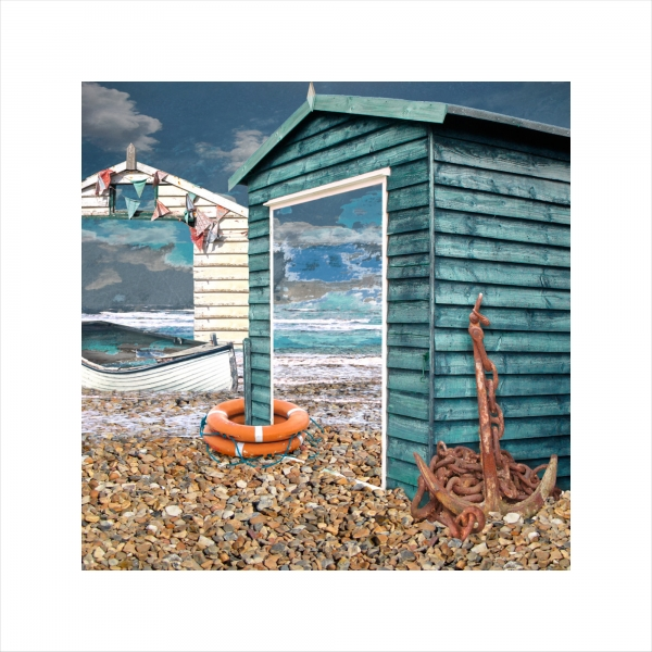 Claire Gill, Limited edition prints, digital photomontage, fine art prints, hahnemuhle, coastal art, Collect Art, seascape 39, beach Huts, Whitstable, anchor
