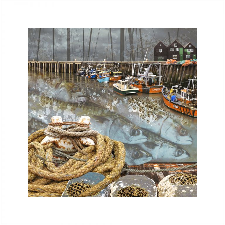 Affordable Art, Art for Sale, Art online, Art prints, Claire Gill, Limited edition prints, digital photomontage, fine art prints, hahnemuhle, coastal art, Collect Art, seascape 46, whitstable harbour, fishing boats