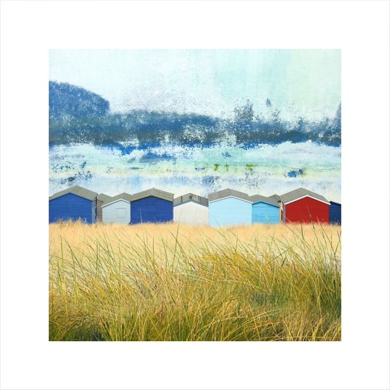 Affordable Art, Art for Sale, Art online, Art prints, Claire Gill, Limited edition prints, digital photomontage, fine art prints, hahnemuhle, coastal art, Collect Art, seascape 50, Whitstable, Tankerton, Beach huts