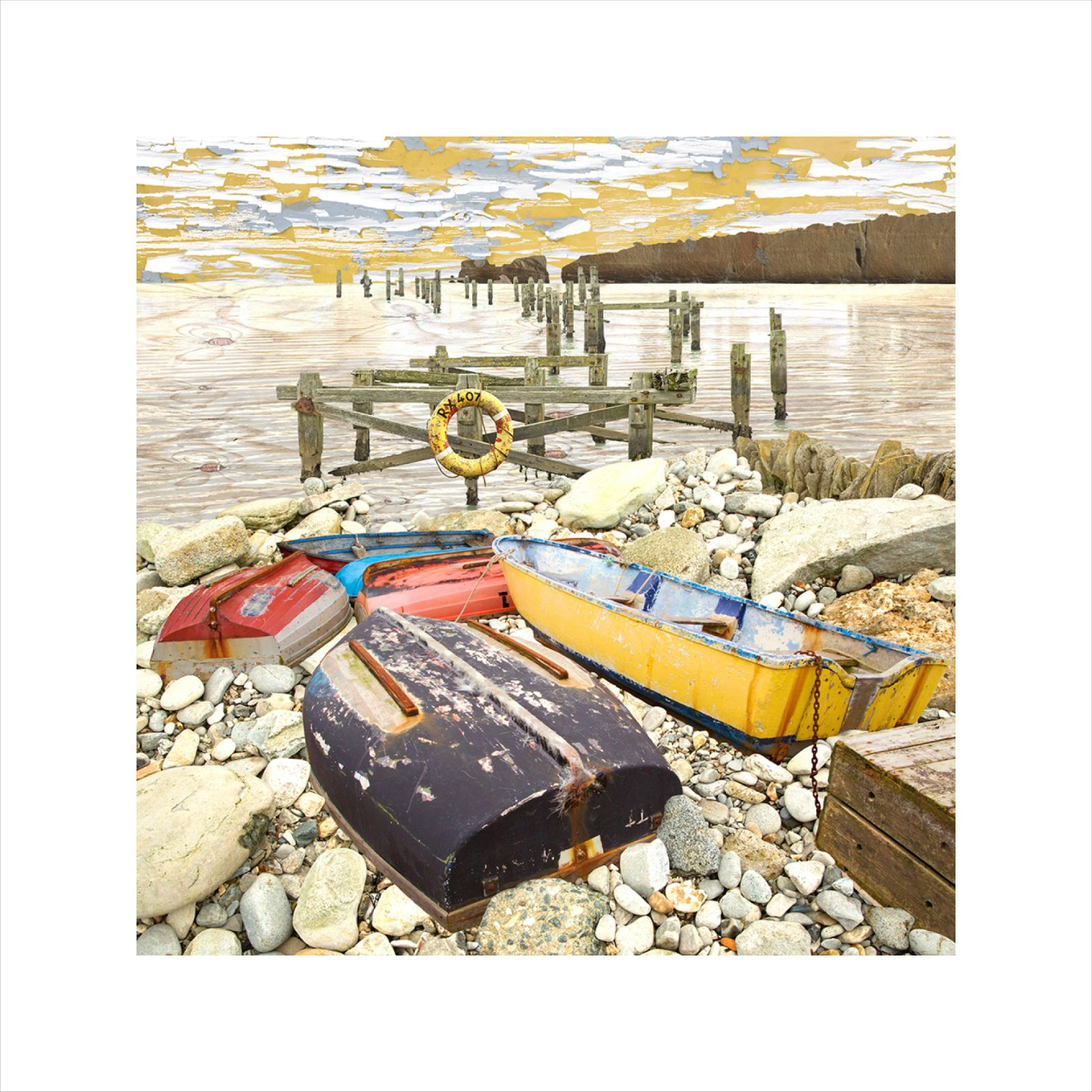 affordable art, art for sale. art online, art prints, Claire Gill, Limited edition prints, digital photomontage, fine art prints, hahnemuhle, coastal art, Collect Art, seascape 52, Studland, Swanage, scattered